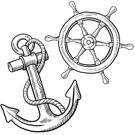 navy ship: Doodle style ships anchor and wheel illustration in vector format Stock Photo