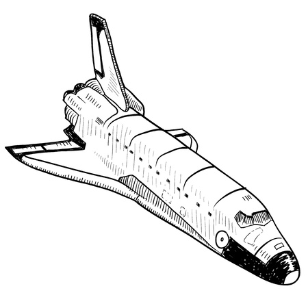 earth from space: Doodle style space shuttle illustration in vector format