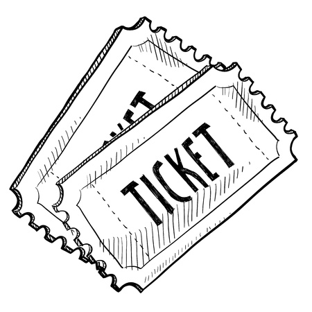 Doodle style concert or movie ticket illustration in vector format