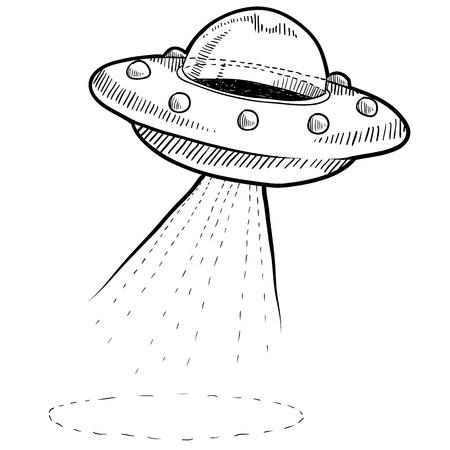 Doodle estilo retro OVNI o platillo alienígena volando ilustración en formato vectorial