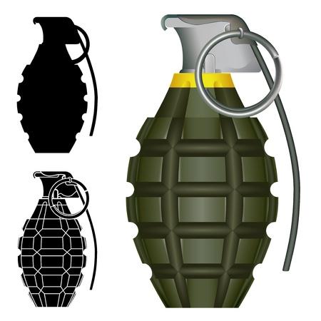 World War Two American pineapple hand grenade explosive bomb illustration.