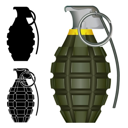 munition: World War Two American pineapple hand grenade explosive bomb illustration.