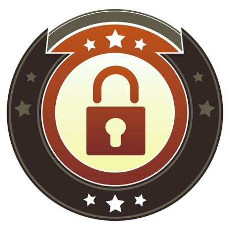 Lock or security icon on round red and brown imperial button with star accents suitable for use on website Stock Photo - 11670280