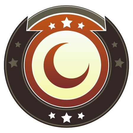 Crescent moon icon on round red and brown imperial button with star accents suitable for use on website photo
