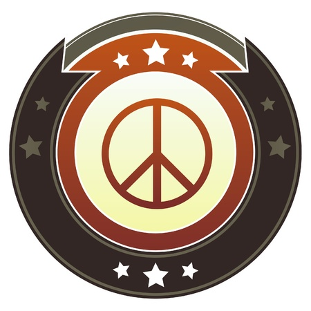 vietnam war: Peace sign icon on round red and brown imperial button with star accents suitable for use on website Stock Photo