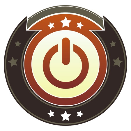 Computer power icon on round red and brown imperial button with star accents suitable for use on website Stock Photo