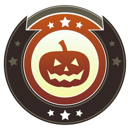 Halloween pumpkin icon on round red and brown imperial button with star accents suitable for use on website photo