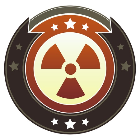 Radiation warning icon on round red and brown imperial button with star accents suitable for use on website photo