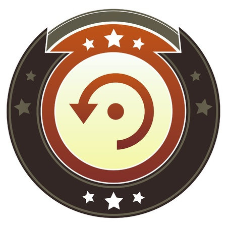 try: Computer refresh icon on round red and brown imperial button with star accents suitable for use on website