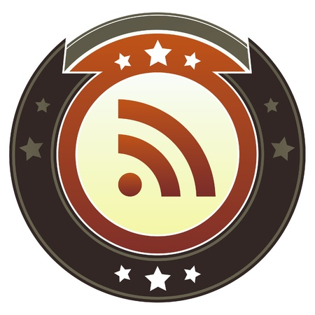 xml: RSS feed icon on round red and brown imperial button with star accents suitable for use on website Stock Photo