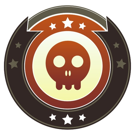 Skull icon on round red and brown imperial button with star accents suitable for use on website