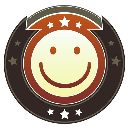 glee: Smiley face emoticon on round red and brown imperial button with star accents suitable for use on website Stock Photo