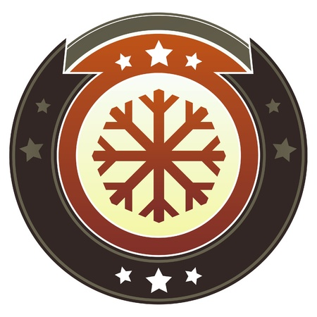 Snowflake or winter icon on round red and brown imperial button with star accents suitable for use on website.  photo