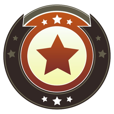 Star icon on round red and brown imperial button with star accents suitable for use on website Stock Photo