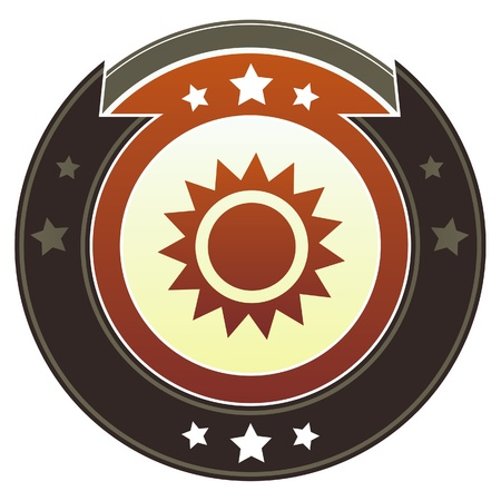 Sun icon on round red and brown imperial button with star accents suitable for use on website