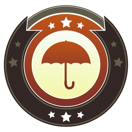 Umbrella icon on round red and brown imperial button with star accents suitable for use on website Stock Photo - 11670279