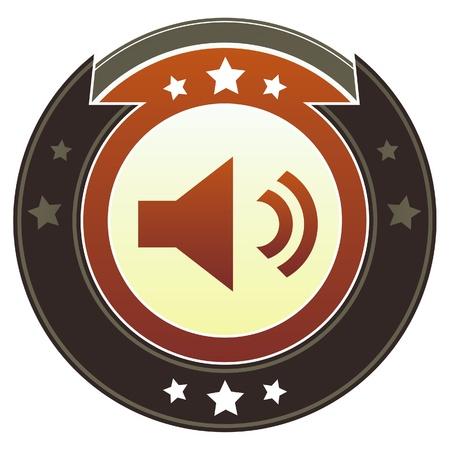 볼륨 또는 스타와 함께 라운드 빨강과 갈색 제국 버튼 음소거 미디어 플레이어 아이콘은 웹 사이트에 사용하기에 적합 악센트 스톡 콘텐츠