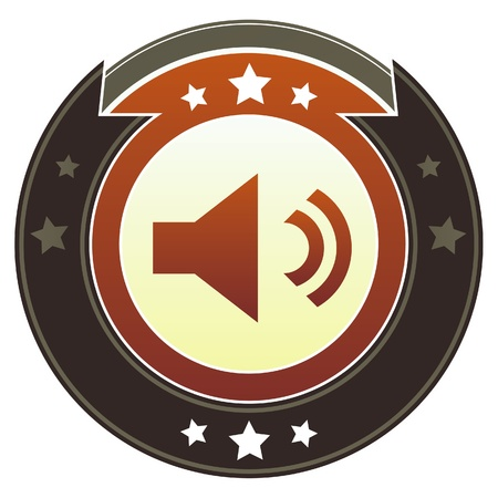 speaker icon: Volume or mute media player icon on round red and brown imperial button with star accents suitable for use on website