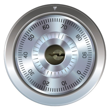 restricted access: Combination lock with keyhole. Typically found on a bank or gun safe. Dial operation is fully detailed along with an accurate keyhole. Security symbol. Stock Photo
