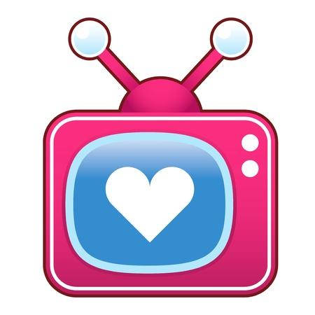 분홍색 복고 텔레비전에 심장 또는 사랑 아이콘의 웹 사이트에, 인쇄에 사용하기에 적합한 설정하고, 홍보 자료입니다.