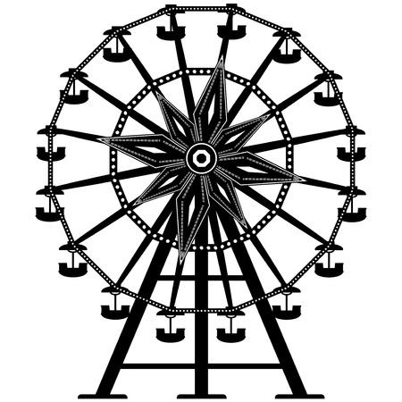 アミューズメント ・ パークから観覧車の詳細なイラスト