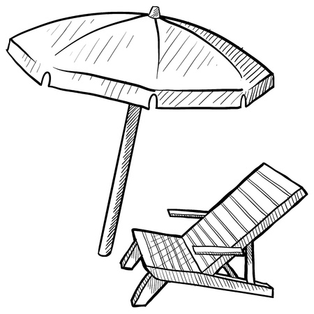 落書き風のビーチの椅子と傘  イラスト・ベクター素材