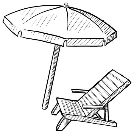 Estilo Doodle silla de playa y sombrilla Ilustración de vector