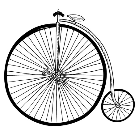 Doodle style antique bicycle with large front tire Stock Illustratie