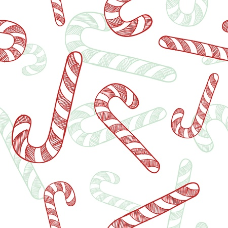 Doodle style seamless candy cane Christmas tiled Stock Vector - 11670363