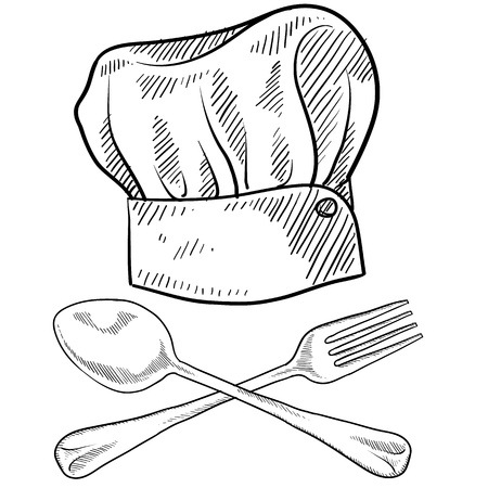 gorro chef: Estilo Doodle gorro de cocinero con un tenedor y una cuchara Vectores