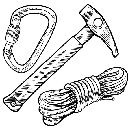 Doodle style mountain climbing gear including rope, pick, and carabiner Ilustrace