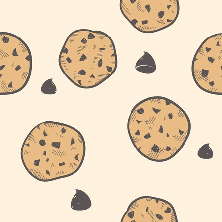 Doodle style seamless cookie treats tiled Illustration