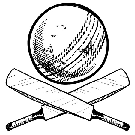 at bat: Doodle style cricket sports equipment including ball and bat