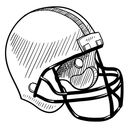 sports helmet: Doodle style football helmet sports equipment Illustration