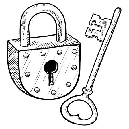 낙서 스타일의 골동품 자물쇠와 열쇠 그림