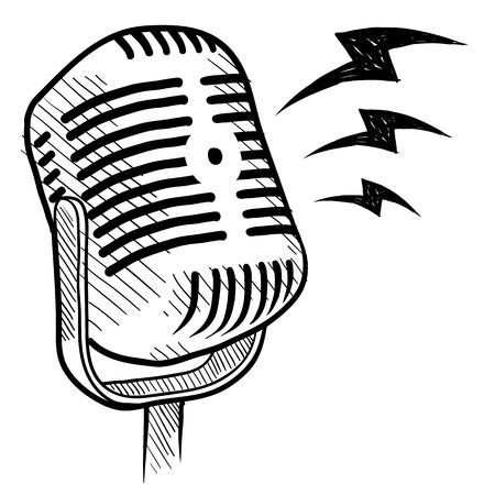 Doodle stijl retro microfoon van radio of communicatie illustratie Stock Illustratie
