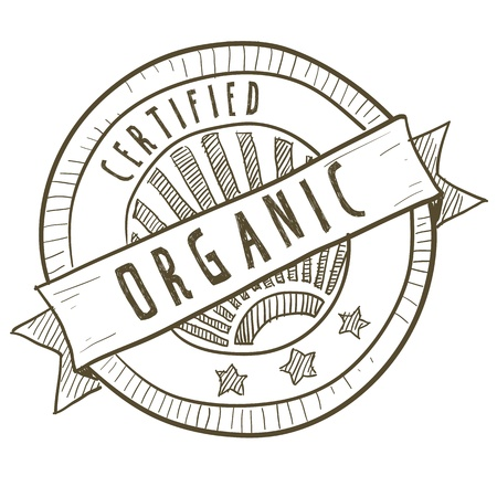 Doodle style certified organic food label Stock Vector - 11670361
