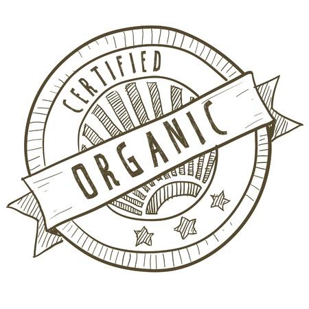pesticida: Estilo Doodle certificada etiqueta de los alimentos org�nicos