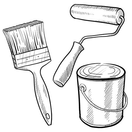 Estilo Doodle equipo de pintura incluyendo lata de pintura, rodillos y cepillos Ilustración de vector