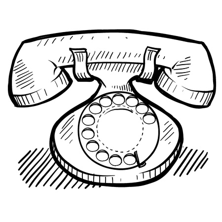contact center: Doodle style retro rotary telephone, communication, or contact illustration