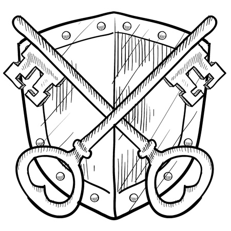 skeleton key: Doodle style antique security coat of arms or herald with shield and key illustration