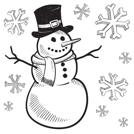winter wonderland: Doodle style holiday snowman illustration