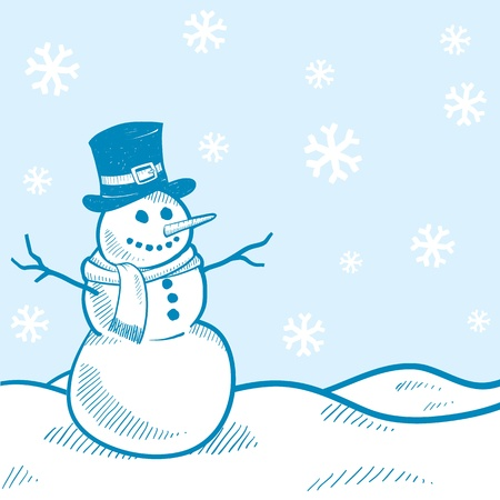 snow storm: Doodle style holiday snowman landscape background illustration Illustration