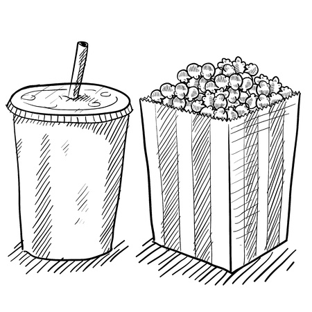 intermission: Doodle style movie concessions including popcorn and soda