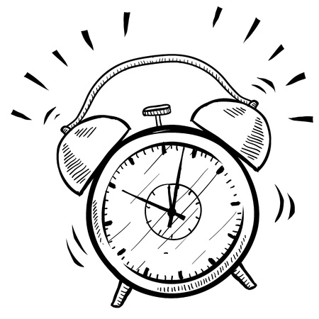 despertador: Estilo retro Doodle de alarma del reloj ilustración adecuada para web, impresión, o el uso de publicidad. Foto de archivo