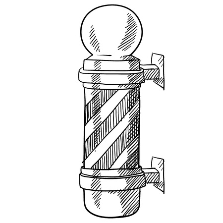 Doodle style striped barbershop pole illustration suitable for web, print, or advertising use.