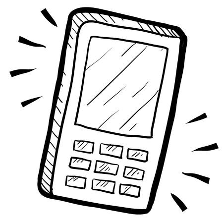 웹, 인쇄, 또는 광고에 사용하기에 적합 낙서 스타일의 휴대폰이나 계산기 그림.