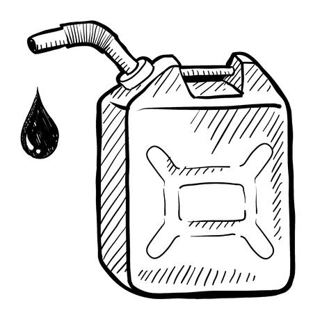 웹, 인쇄, 또는 광고에 사용하기에 적합 낙서 스타일의 가솔린 캔 그림입니다.