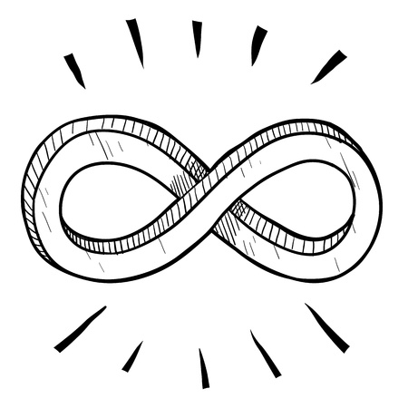 finite: Doodle style infinity math symbol illustration suitable for web, print, or advertising use. Stock Photo