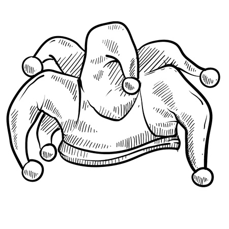 ingannare: Giullare stile Doodle di illustrazione cappello adatto per l'uso web, stampa o pubblicit�. Archivio Fotografico